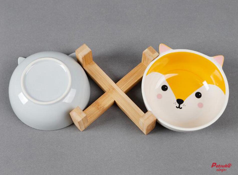 ชามอาหารสัตว์เลี้ยงลายการ์ตูน Petsuka รูปสุนัขจิ้งจอก สีส้ม พร้อมฐานรอง