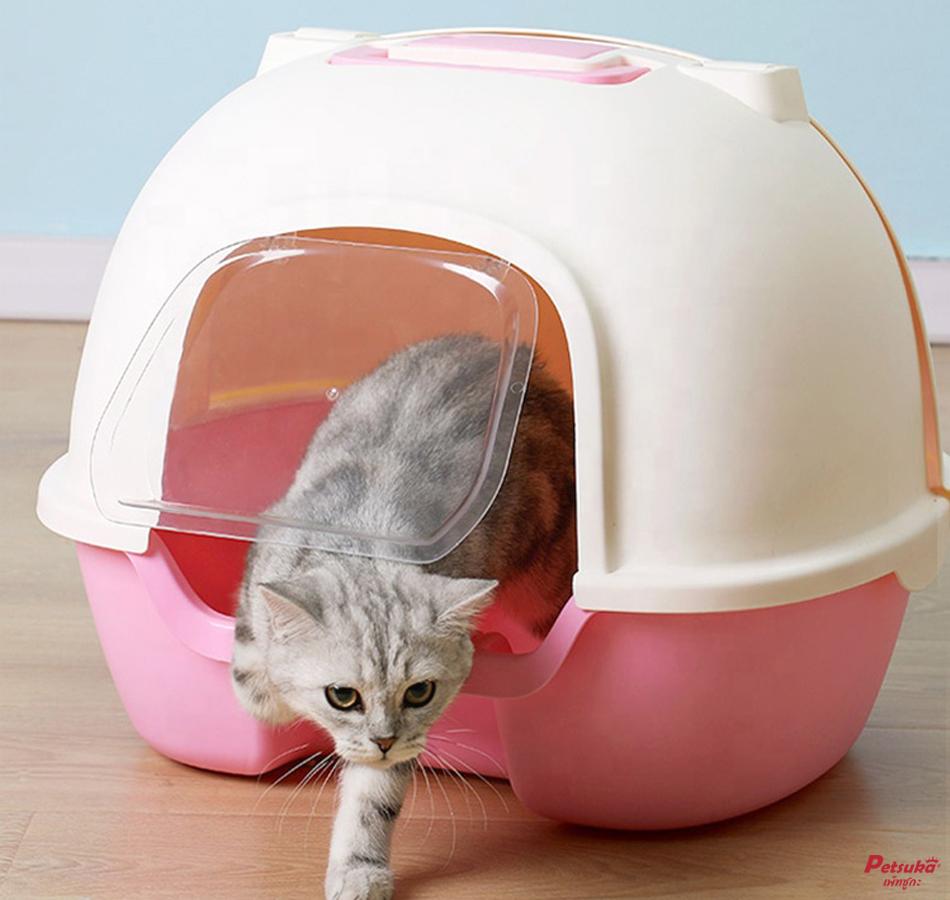 ห้องน้ำแมว Petsuka ห้องน้ำโดมแบบเปิดหลังพร้อมที่ตักทราย สีชมพู