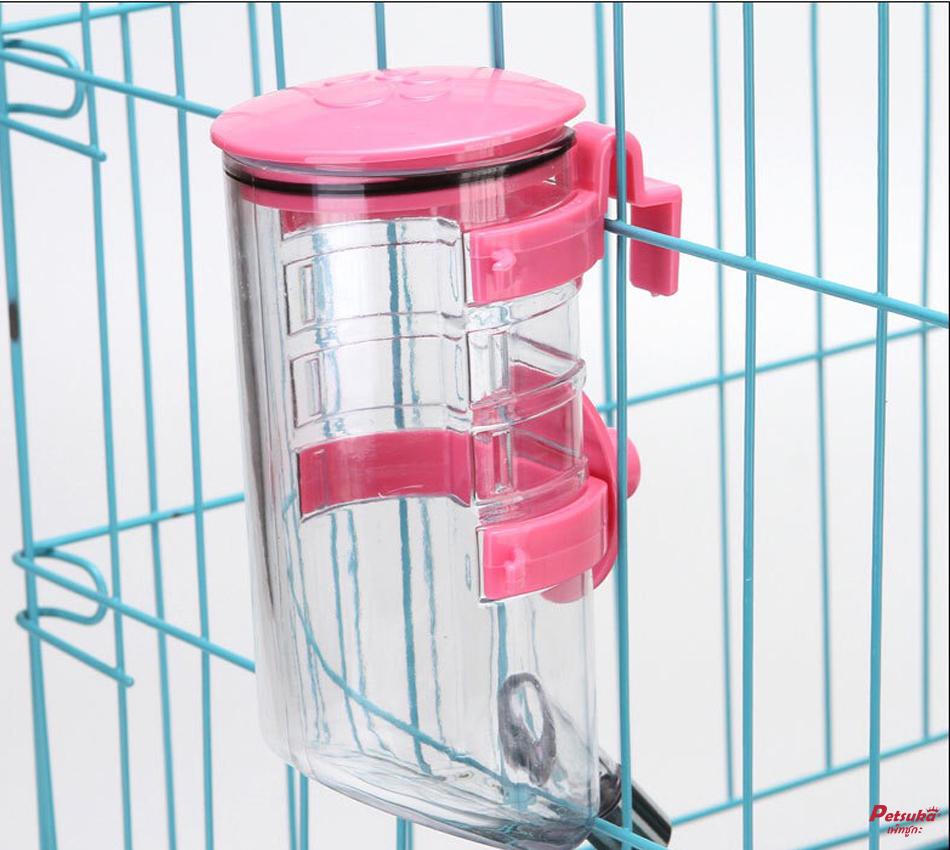 กระติกให้น้ำสัตว์เลี้ยง Petsuka แบบแขวน สีชมพู 350ml