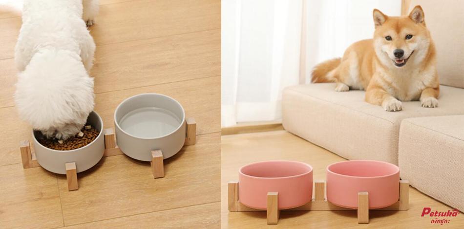 ชามอาหารสัตว์เลี้ยงสุนัขและแมว Petsuka สีเทา แบบคู่
