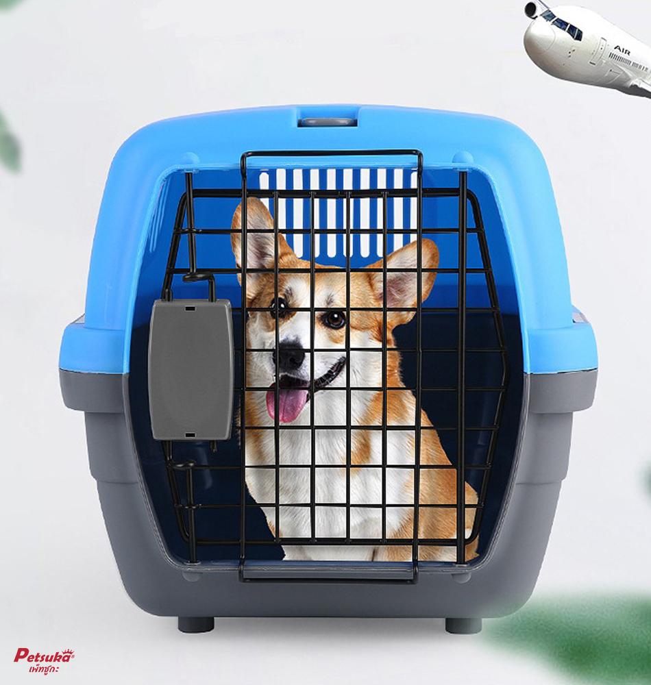 กล่องใส่สัตว์เลี้ยง Petsuka Pet Cage กรงหิ้วสำหรับเดินทาง สีฟ้า