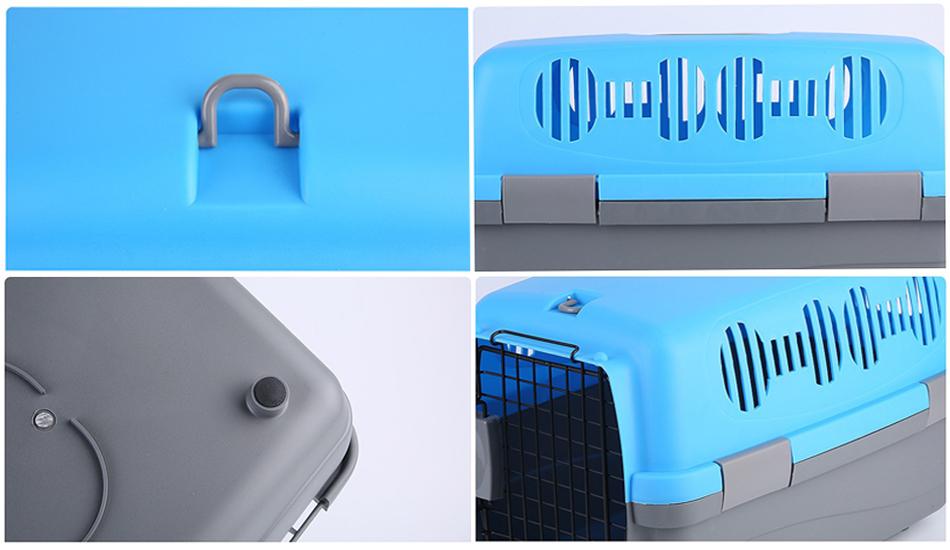 กล่องใส่สุนัขและแมว Petsuka Pet Cage กรงหิ้วสำหรับเดินทาง สีฟ้า